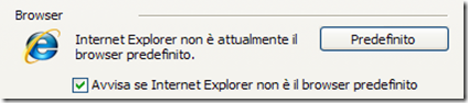 Mettere Internet Explorer come browser predefinito