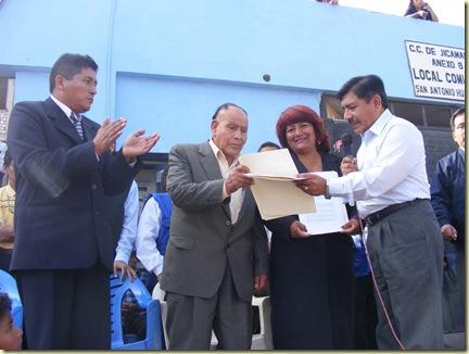 PRESIDENTE REGIONAL LUIS CUSTODIO JUNTO A LA CALDESA PROVINCIAL DE HUAROCHIRÍ, EL ALCALDE DE SAN ANTONIO Y EL PRESIDENTE DEL ANEXO 8 - 2