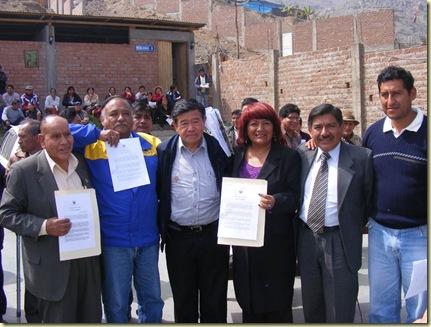 PRESIDENTE REGIONAL LUIS CUSTODIO JUNTO A LA CALDESA PROVINCIAL DE HUAROCHIRÍ, EL ALCALDE DE SAN ANTONIO, EL PRESIDENTE DEL ANEXO 8 Y EL CIUDADANO NELSON CHUI MEJÍA