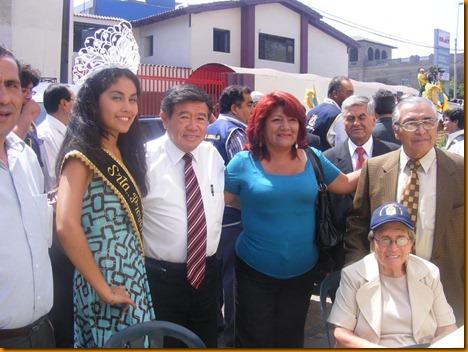 presidente nelson chui junto a miss huarochirí, la alcaldesa provincial de huarochirí y el gerente de infraestructura, Ing. Julio Ríos Sousa