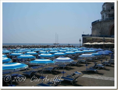 Ciao Amalfi Coast Blog Atrani Beach Blue Umbrellas