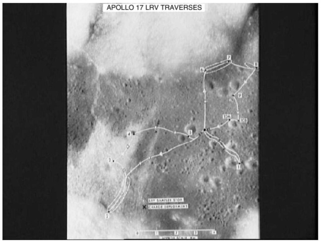 Apollo 17 exploration area in the Valley of Taurus-Littrow showing the landing site, exploration stations (numbers), and general traverses (solid lines) (courtesy of NASA). This figure is available in full color at http://www.mrw.interscience.wiley.com/esst.