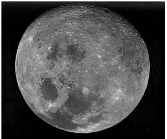 Near full Moon view showing examples of old and young, large basins both containing basaltic maria. The irregular basin at the lower left of center is Tranquillitatis, whose southern portion contains the Apollo 11 landing site. The circular basin at the lower left is Serenitatis. The Apollo 17 landing site is located in the lower right portion of the surrounding ring of mountains. The farside mare basin, Tsiolkovskiy, is visible just right of the top (courtesy of NASA). This figure is available in full color at http://www.mrw. interscience.wiley.com/esst.