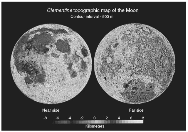 Topographic map of the Moon from Clementine data showing the Procellarum Basin in the upper left of the nearside image, the South Pole-Aitken Basin in the lower portion of the farside image, and the Cratered Highlands of the farside and southern nearside.This figure is available in full color at http://www.mrw. interscience.wiley.com/esst.