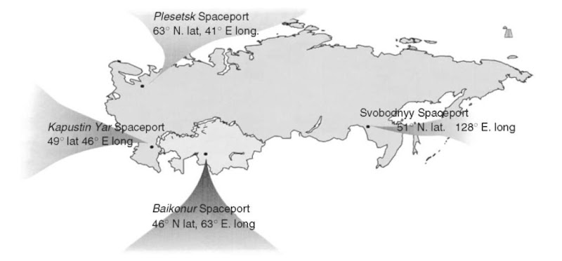 The spaceports of the Russian Federation. This figure is available in full color at http://www.mrw.interscience.wiley.com/esst.