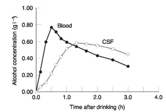 Mean concentration-time profiles of ethanol in cerebrospinal fluid (CSF) obtained by lumbar puncture and venous blood in nine subjects after ingestion of a moderate dose of alcohol