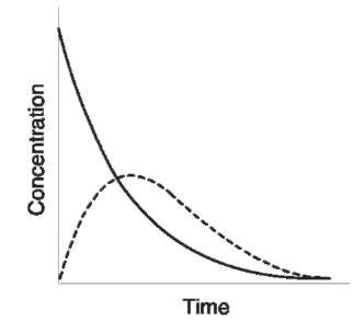 Plasma concentration/time curves for a drug administered intravenously (—) and orally (—).