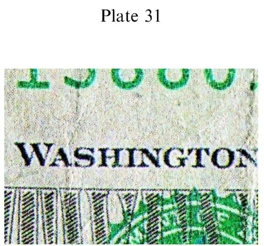 Plate 31 FORGERY AND FRAUD/Counterfeit Currency Counterfeit US $20 FRN: full color halftone offset.