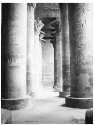 Typical columned corridors leading to the Djeseru-djeseru, the sanctuaries of temples dating to the New Kingdom Period (1550-1070 b.c.e.).