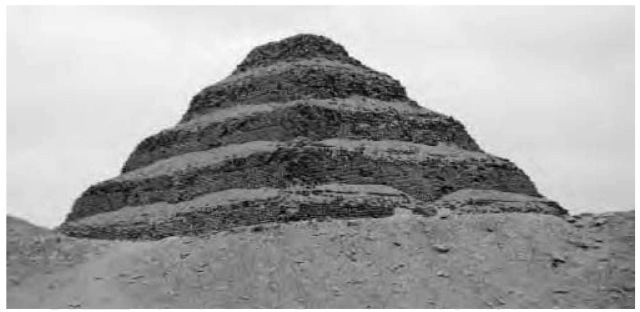 The Step Pyramid, the first pyramidal monument ever erected in Egypt. Built at Saqqara for Djoser, the Step Pyramid was the creation of the priest official Imhotep.