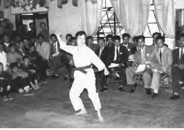 A scene of ring-style training of Miss Kim, ca. 1950.