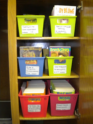 All my class sets of books in their new home, dont they look happy! (And organized?!)