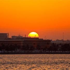 by Nashira Usef - City,  Street & Park  Skylines ( water, building, sunset, doha, sea, qatar, sun, city )