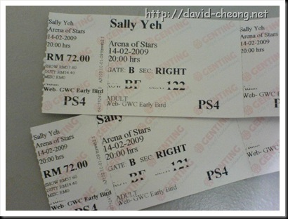 Sally yap concert ticket