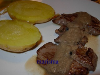 solomillos con salsa de champis,racion(10)
