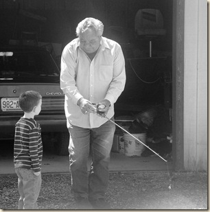 Great Grandpa teaching Kyle how to cast 2 black and white-1_edited-1