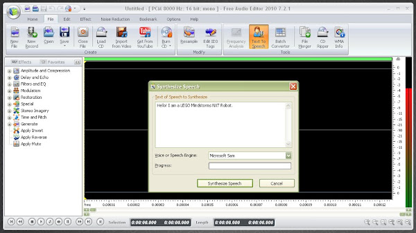 Free Audio Editor 2011 (www.free-audio-editor.com) Creating Text-to-Speech Audio Files