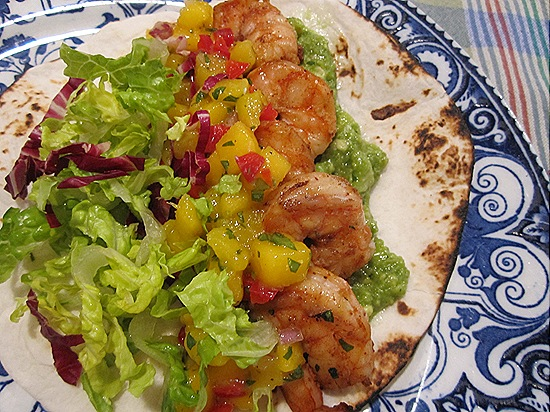 Grilled Shrimp Taco with Mango Salsa & Guacamole