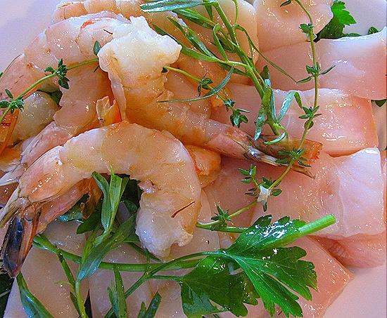 Marinating Halibut, Scallops & Shrimp