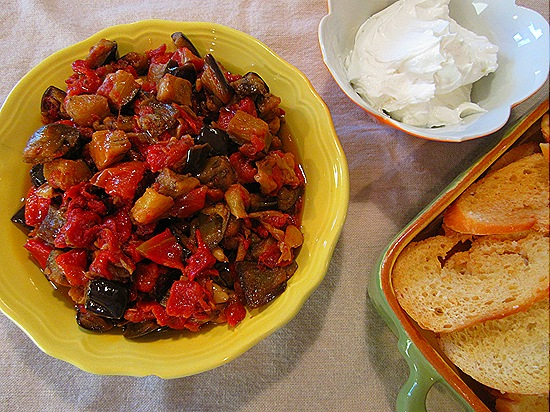 Eggplant-Red Pepper Comfit with Goat Cheese & Crostini