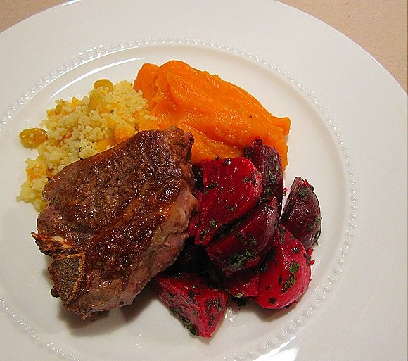 Pan-Roasted Lamb Chop with Ginger Beets, Butternut Squash Puree & Couscous with Pinenuts & Dried Fruits
