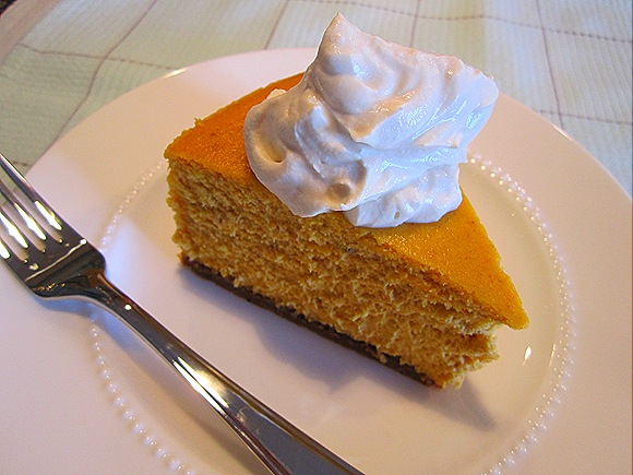 Pumpkin Cheesecake with Brown Sugar - Bourbon Whipped Cream