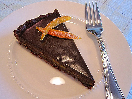 Dark Chocolate Tart with Almond & Candied Orange Peel