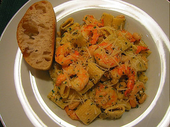 Shrimp Pasta & Sliced Ciabatta