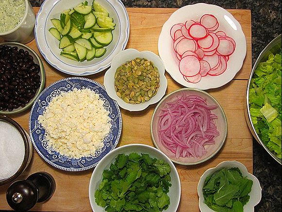 Salad Ingredients (except I forgot the avocado, and added cilantro by mistake)