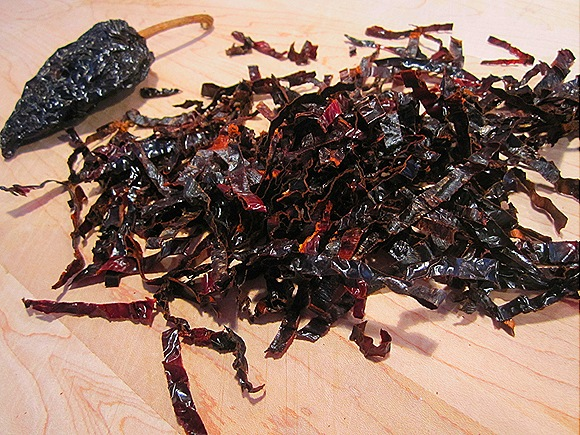Sliced Ancho Strips, and a Relatively Small Ancho Chile