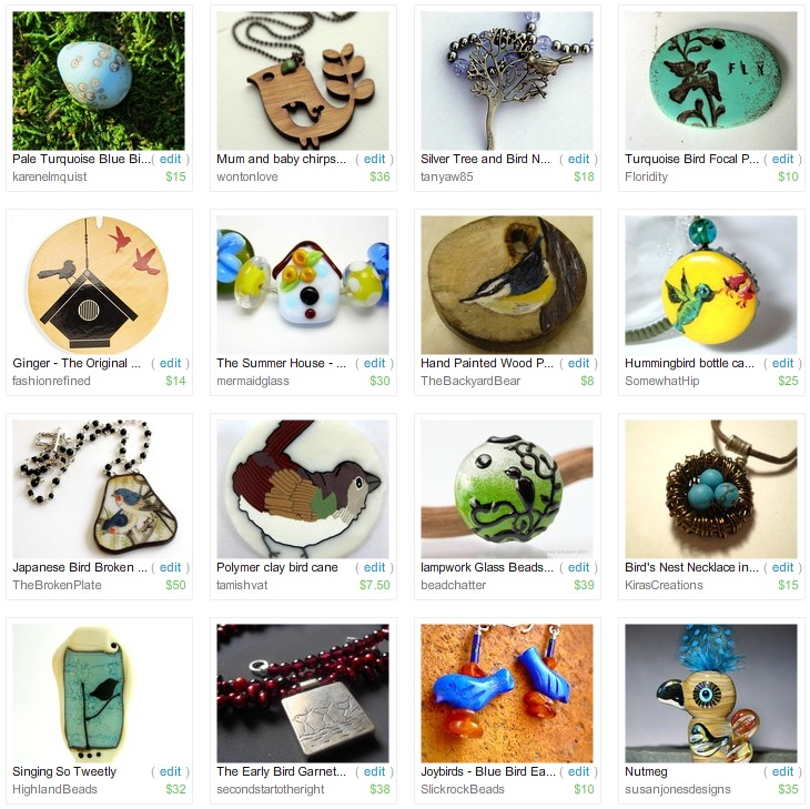 Etsy Picks: Birds of Springtime Beads and Jewelry