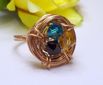 Birthstone Bird's Nest Ring by Rings Handmade