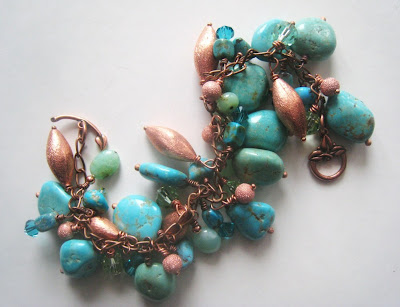 Chunky Turquoise Bracelet by Little Bear's Mom