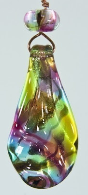 Rainbow Reflections Off Mandrel Lampwork Focal by Firedance Beads