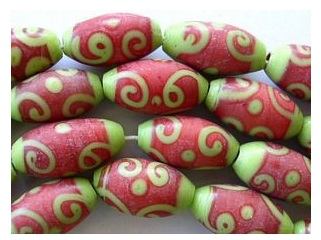 Lime Green and Red Glass Swirl Beads from Happy Mango Beads