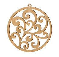 US Made Wood Scroll Vine Charm from Rings and Things