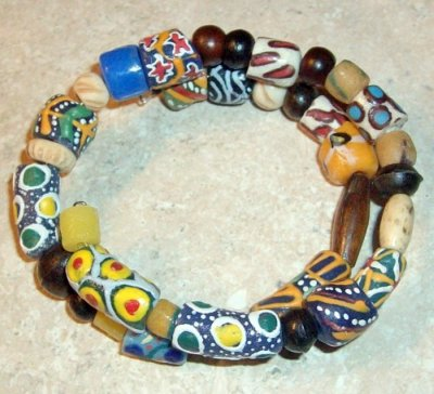 Coil Cuff African Trade Bead Bracelet by SarasinArt