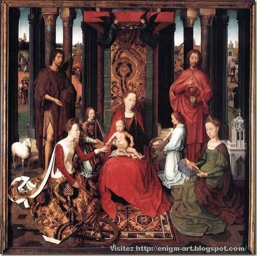 Hans Memling, retable de saint Jean. Panneau central. Notre Dame et son divin enfant avec saint Jean-Baptiste et saint Jean. Hans Memling. XVe