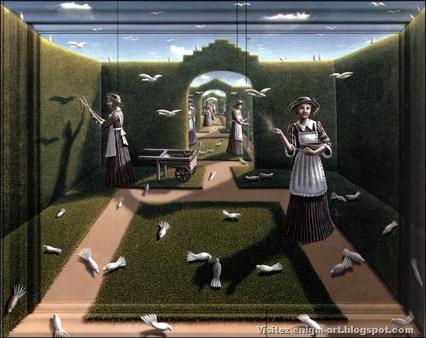 Pam Crook, Le jardin des oiseaux, 1985 collection privé