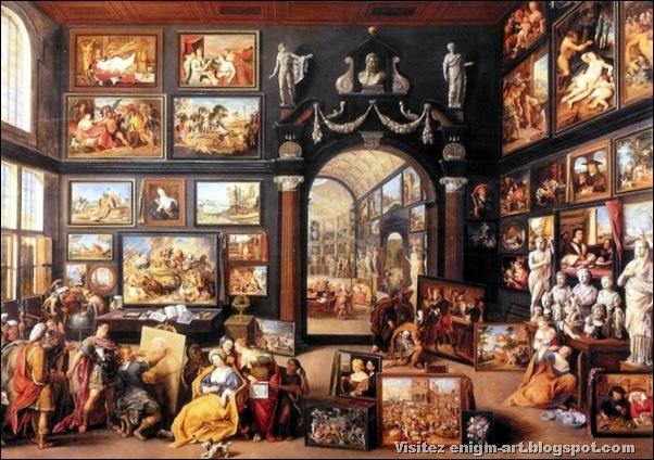 Wilhelm Van Haecht,Cabinet de collectionneur avec Apelle peignant Campaspe, 1630