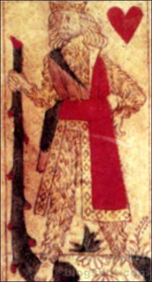 Roi de coeur, Jeu de cartes fabriqué à Lyon, 1490
