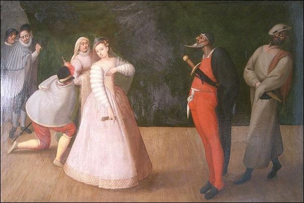 Représentation de commedia dell'arte, fin du xvie siècle.