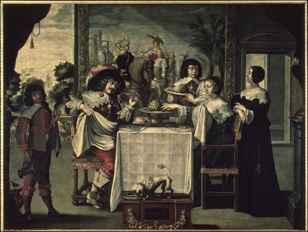 Bosse Abraham (d'après) - le gout (suite des 5 sens) - 17e siècle - huile sur toile - 1,04 x 1,37 m - Tours, Musée des beaux-arts