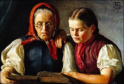 Hans Thoma, La mère et la soeur du peintre 1866