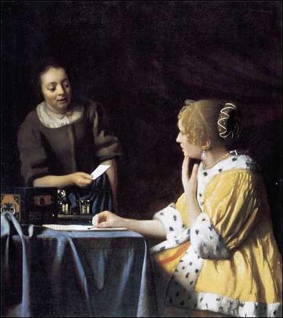 Vermeer,jeune femme avec une servante tenant une lettre