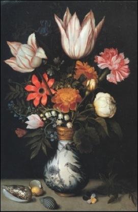 Ambrosius Bosshaert, Bouquet de fleur avec coquillage