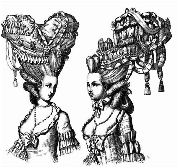 Gravure représentant des coiffures extravagantes