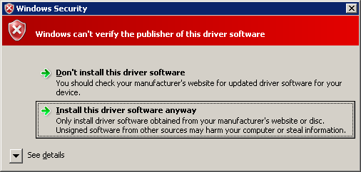 driver installation alert of vista