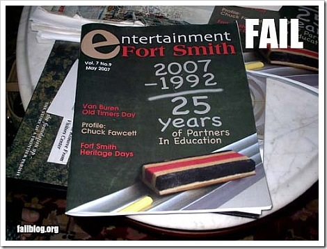 Math Fail Picture | 2007-1992=25 years.