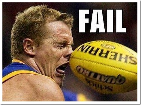 Rugby player failing.
